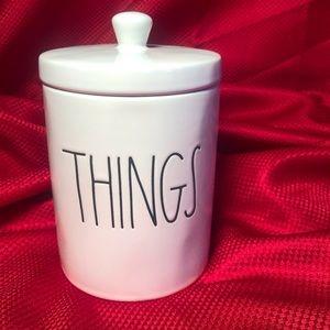 RAE DUNN THINGS JAR HOLDER FOR VANITY COTTON BALLS